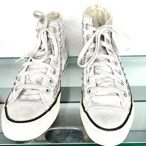 Converse All Star Gray Suede Studded  Sneakers